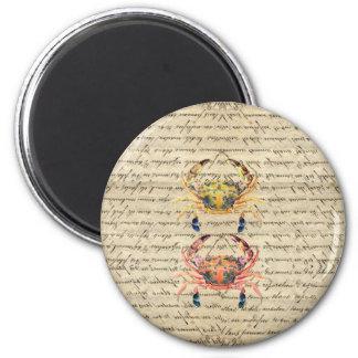 Imán Ilustracion antiguo del cangrejo del vintage