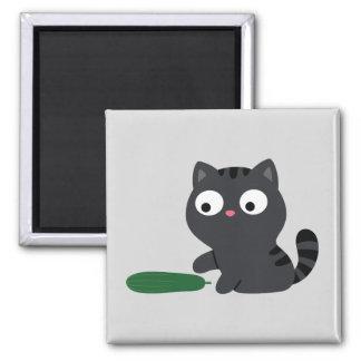 Imán Ilustracion del gatito y del pepino