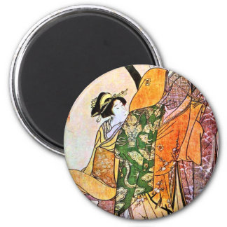 Imán Ilustraciones japonesas del geisha del vintage