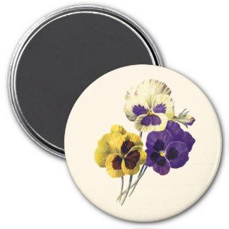 Imán Insignia del pensamiento de la flor del vintage