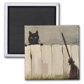 Imán La escoba de bruja de la cerca del gato negro