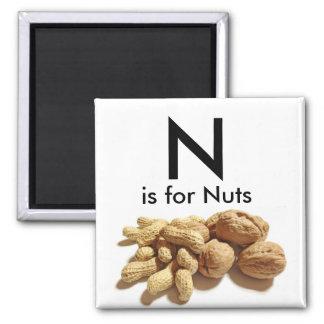 Imán La letra N está para Mangets de los niños Nuts