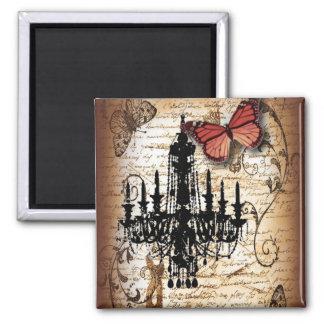 Imán lámpara del vintage de París de la mariposa del