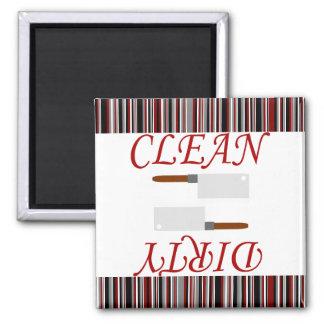Imán Lavaplatos limpio o sucio rayado negro y gris rojo