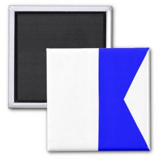 Imán Letra náutica A (alfa) de la señal de la bandera