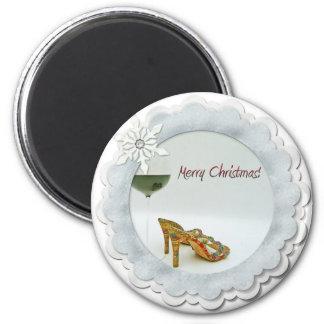 ¡Imán lindo de las Felices Navidad! Imán Redondo 5 Cm