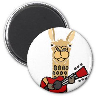 Imán Llama divertida que toca la guitarra
