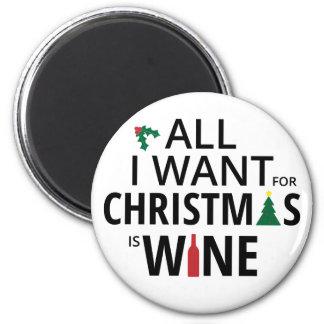 Imán Lo único que quiero para el navidad es vino -