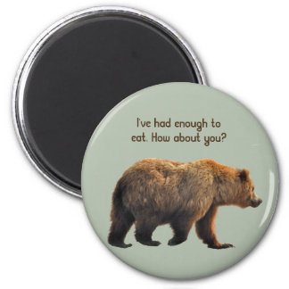 Imán manet redondo con el oso grizzly