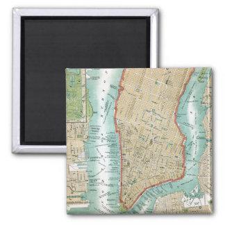 Imán Mapa antiguo del Lower Manhattan y del Central