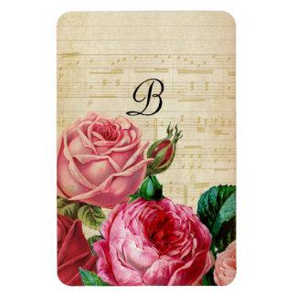 Iman Monograma color de rosa floral del vintage