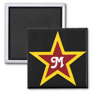 Imán Monograma de encargo simple de la estrella roja y