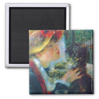Imán Mujer con su bella arte de Renoir del perro