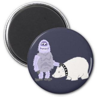 Imán Muñeco de nieve abominable con el oso polar del