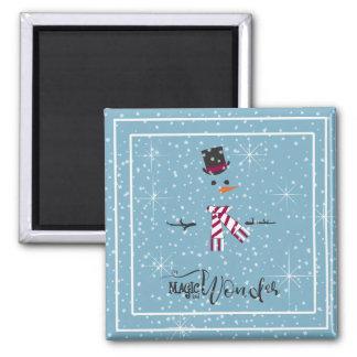 Imán Muñeco de nieve ID440 azul del navidad de la magia