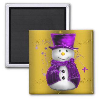 Imán Muñeco de nieve púrpura en navidad del oro