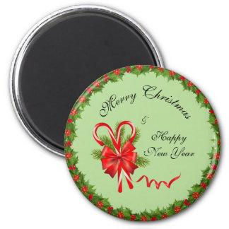Imán Navidad de las bayas del acebo y bastones de