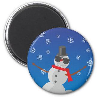 Imán Navidad del invierno de la nieve del hombre de la