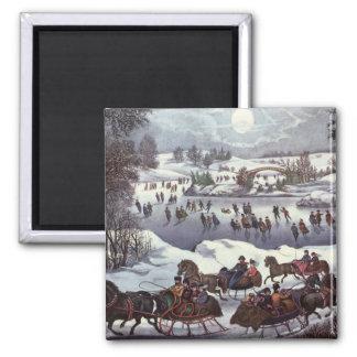 Imán Navidad del vintage, Central Park en invierno