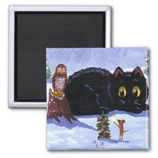 Imán Navidad divertido Creationarts del búho del ratón
