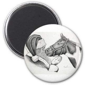 Imán Navidad Santa y caballo de la pintura