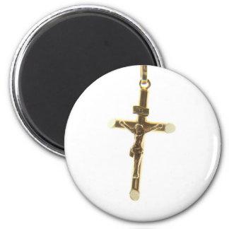 Imán Oro cruzado del Jesucristo horizontal