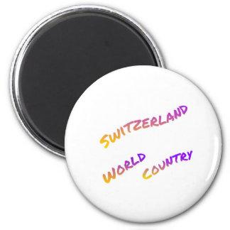 Imán País del mundo de Suiza, arte colorido del texto