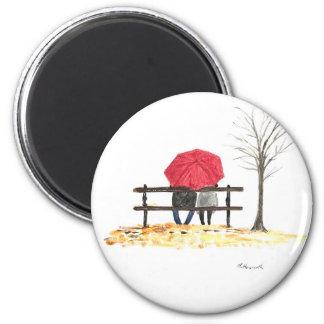Imán Pares del amor con el paraguas rojo