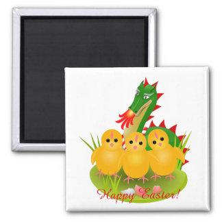 Imán Pascua feliz a partir de tres polluelos y dragones