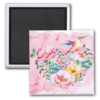 Imán Peonies y corazón rosados del colibrí