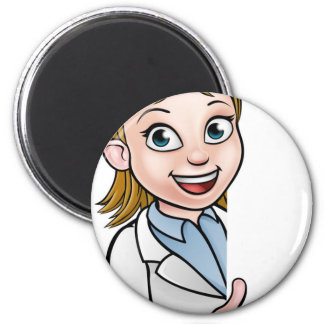 Imán Personaje de dibujos animados del científico que