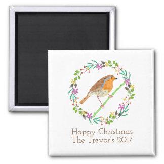 Imán Petirrojo el pájaro del navidad