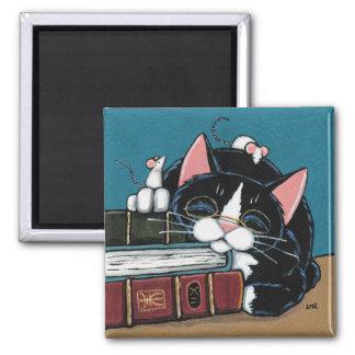 Imán Pintura del gato y de los ratones del smoking del