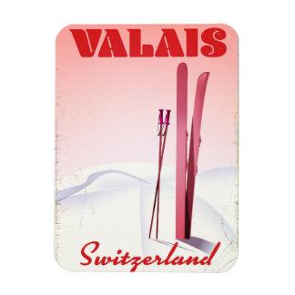 Iman poster del esquí del estilo del vintage de Valais