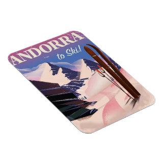 Imán Poster del esquí del vintage de Andorra