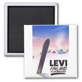 Imán Poster del viaje de la snowboard de Levi Finlandia