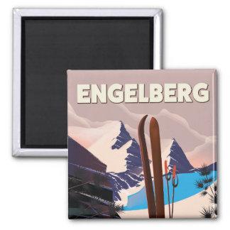 Imán Poster del viaje del esquí de Engelberg Suiza