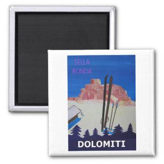 Imán Poster retro Dolomiti Italia en Sella Ronda