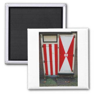 Imán Puertas rojas y blancas de la fotografía holandesa