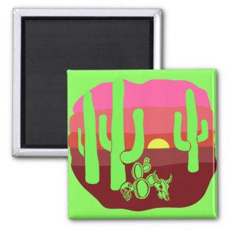 Imán Puesta del sol verde de neón de los cactus de los