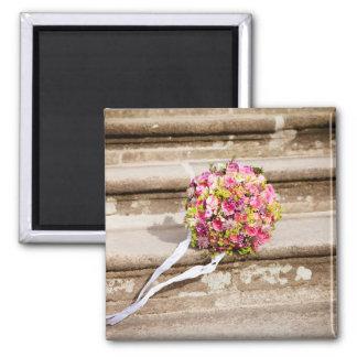 Imán Ramo floral del boda del rosa y del verde