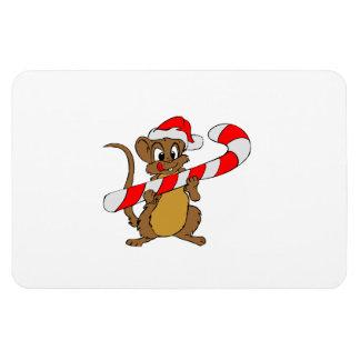 Iman Ratón con un bastón de caramelo del navidad