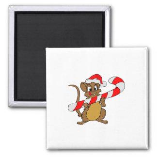 Imán Ratón con un bastón de caramelo del navidad