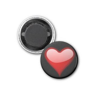 Imán redondo del corazón rojo