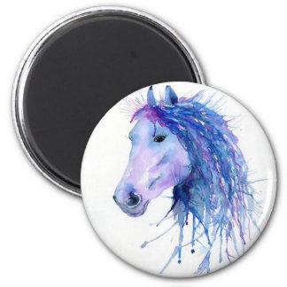 Imán Retrato abstracto del caballo de la acuarela