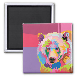 Imán Retrato colorido del oso del arte pop