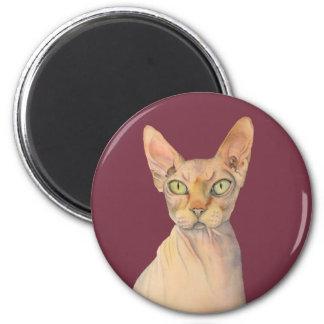 Imán Retrato de la acuarela del gato de Sphynx