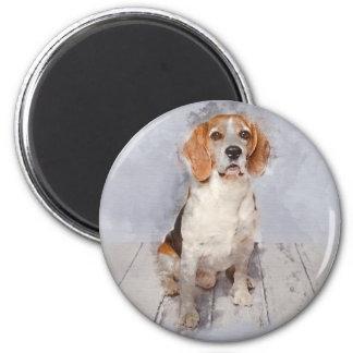 Imán Retrato lindo de la acuarela del beagle