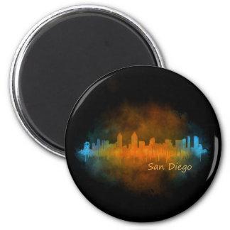 Imán San Diego California City Skyline Watercolor v04