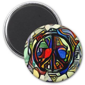 Imán Símbolo de paz colorido